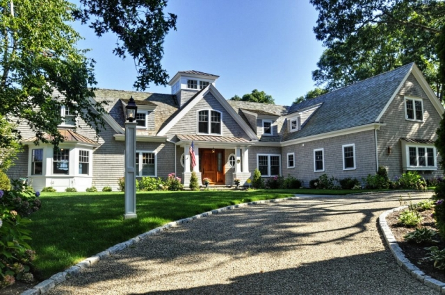Drive and front entry of beautiful remodeled home in Cotuit