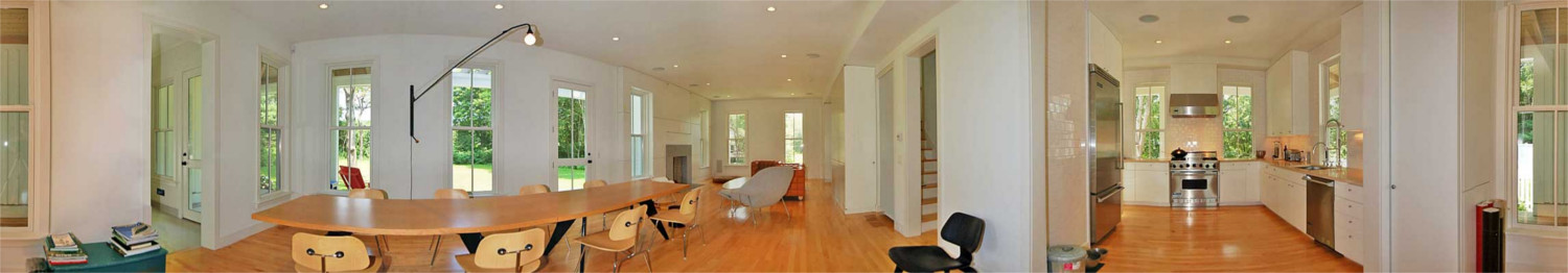 Panoramic view of interior of new Osterville home