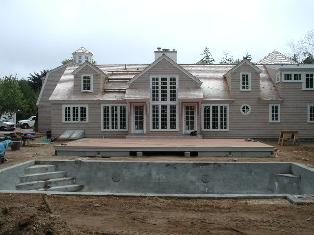 Osterville remodel during construction, view of pool in progress