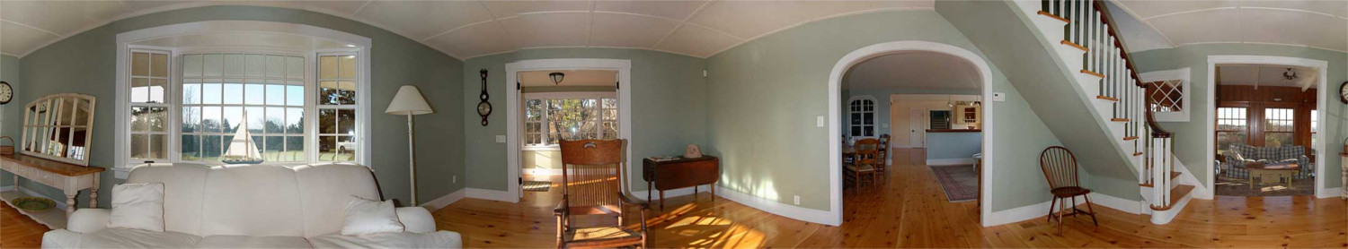 Interior of renovated farmhouse, panoramic view, remodel by Lagadinos Building and Design